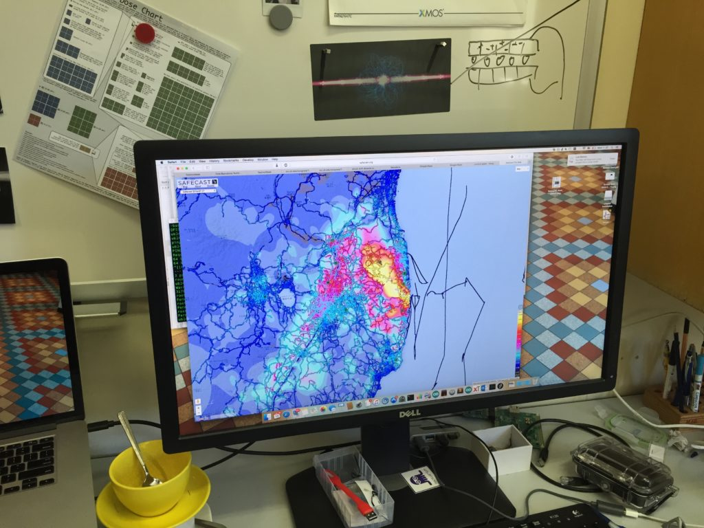 Radioactivity around Fukushima, data were collected by people with safecast detector